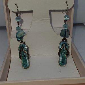 Silver, shell Enameled Flip Flop Dangle Earrings